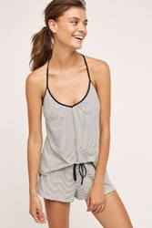 Anthropologie Striped T Back Cami Black And White
