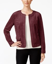 Charter Club Faux Suede Open Front Jacket Only At Macy's Tuscan Red