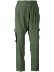 P.A.R.O.S.H. Sibel Cropped Trousers Women Silk M Green