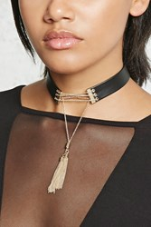 Forever 21 Drop Chain Collar Choker Black Gold