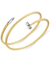 Macy's Twisted Nail Wrap Bangle Bracelet In Vermeil And Sterling Silver