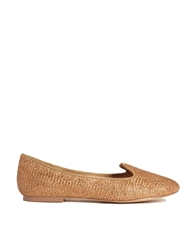 Chocolate Schubar Chiara Rafia Flat Shoes Bronze