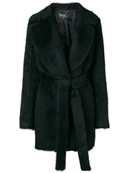 Salvatore Ferragamo Fur Belted Coat Black