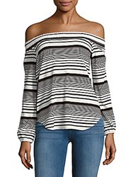 Red Haute Striped Off The Shoulder Top Black White