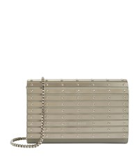 Elie Saab Small Stud Panelled Leather Clutch Female Metallic