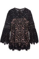 Lela Rose Corded Lace Top Black