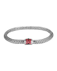 Classic Chain 5Mm Extra Small Braided Silver Bracelet Red Sapphire John Hardy