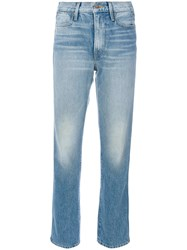 Frame Denim Stonewashed Cropped Jeans Women Cotton 25 Blue