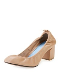 Lanvin Leather Chunky Heel 55Mm Ballerina Pump Nude