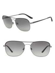 Giorgio Armani 58Mm Square Sunglasses Metal Brown Black Gunmetal