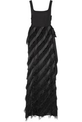Rachel Zoe Corinna Fringed Paneled Crepe Satin And Organza Gown Black