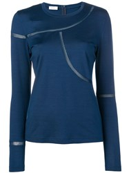 Akris Punto Fitted T Shirt With Net Detailing Blue