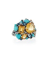 Stephen Dweck Citrine Topaz And Turquoise Cocktail Ring