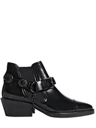 The Kooples Brushed Leather Ankle Boots Black
