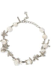 Oscar De La Renta Silver Tone Crystal And Resin Necklace White