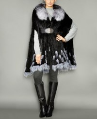 The Fur Vault Fox Trim Knitted Mink Cape Black Silver