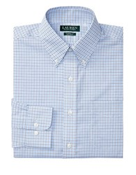 Lauren Ralph Lauren Classic Fit Checked Poplin Dress Shirt Blue