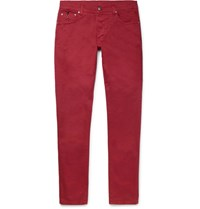 Isaia Slim Fit Stretch Cotton Twill Trousers Red