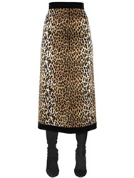 Ungaro High Waisted Leopard Silk Satin Skirt
