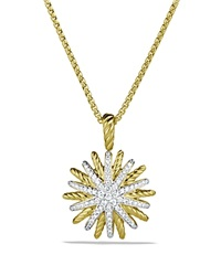 David Yurman Starburst Small Pendant With Diamonds In Gold On Chain Yellow Gold