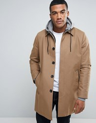 Asos Single Breasted Trench Coat With Shower Resistance In Tobacco Tobacco Navy