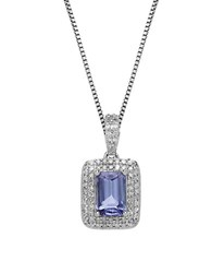 Lord And Taylor Tanzanite Diamond 14K White Gold Pendant Necklace Blue