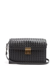 Bottega Veneta Intrecciato Woven Leather Cross Body Bag Black