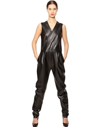 Jose' Sanchez Sleeveless Nappa Leather Jumpsuit Black