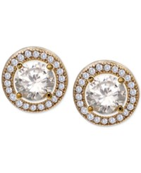 Giani Bernini Cubic Zirconia Halo Stud Earrings In 18K Gold Plated Sterling Silver Only At Macy's