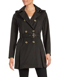 Michael Kors Petite Hooded Double Breasted Trench Coat Black
