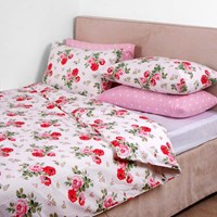 Cath Kidston Antique Rose Bouquet Duvet Cover White Super King