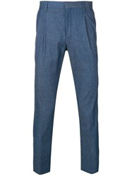 Entre Amis Creased Cropped Trousers Blue