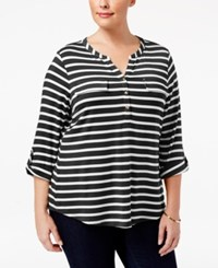 Charter Club Plus Size Striped Henley Top Only At Macy's Deep Black Combo