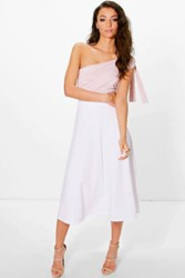 Boohoo Lola Scuba Full Circle Midi Skirt White