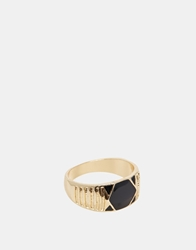 Asos Signet Ring With Geometric Design Gold