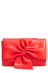 Street Level Bowtie Faux Leather Clutch Red