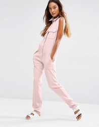 Honey Punch Military Jumpsuit With Front Pockets Pink