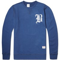 Bedwin And The Heartbreakers Lou Emblem Crew Sweat Blue