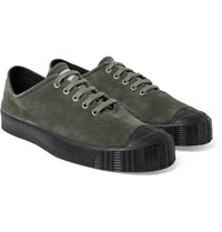 Comme Des Garcons Shirt Spalwart Special V Low Rubber Trimmed Suede Sneakers Army Green