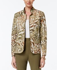 Alfred Dunner Cactus Ranch Collection Floral Print Quilted Jacket Multi
