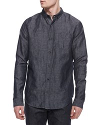 Vince Melrose Denim Button Down Shirt Blue