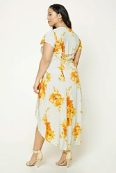 Forever 21 Plus Size Floral High Low Dress Cream Orange