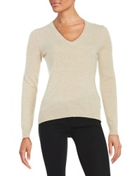 Lord And Taylor V Neck Cashmere Sweater Stone Heather