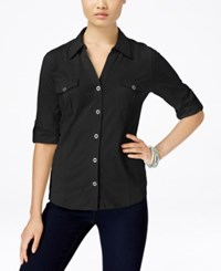 Styleandco. Style And Co. Roll Tab Jersey Button Down Shirt Only At Macy's Deep Black