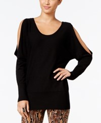 Thalia Sodi Chain Back Cold Shoulder Sweater Only At Macy's Deep Black