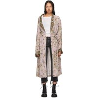 R 13 R13 Pink Floral And Leopard Smoking Robe Coat