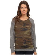 Alternative Apparel Eco Jersey Slouchy Pullover Camo Women's Clothing Multi