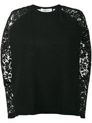 Valentino Lace Long Sleeve Jumper Women Virgin Wool Cashmere Cotton Polyamide M Black
