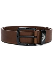 Emporio Armani Logo Detail Belt Brown