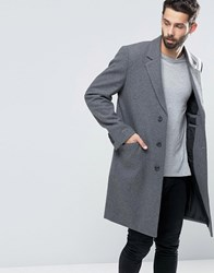 Asos Wool Mix Overcoat In Light Grey Marl Light Grey